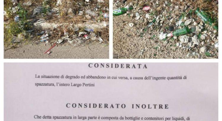 Richiesta pulizia Largo Pertini ed installazione bidoni per rifiuti. Segnalazione dell'Associazione #iorestoqui