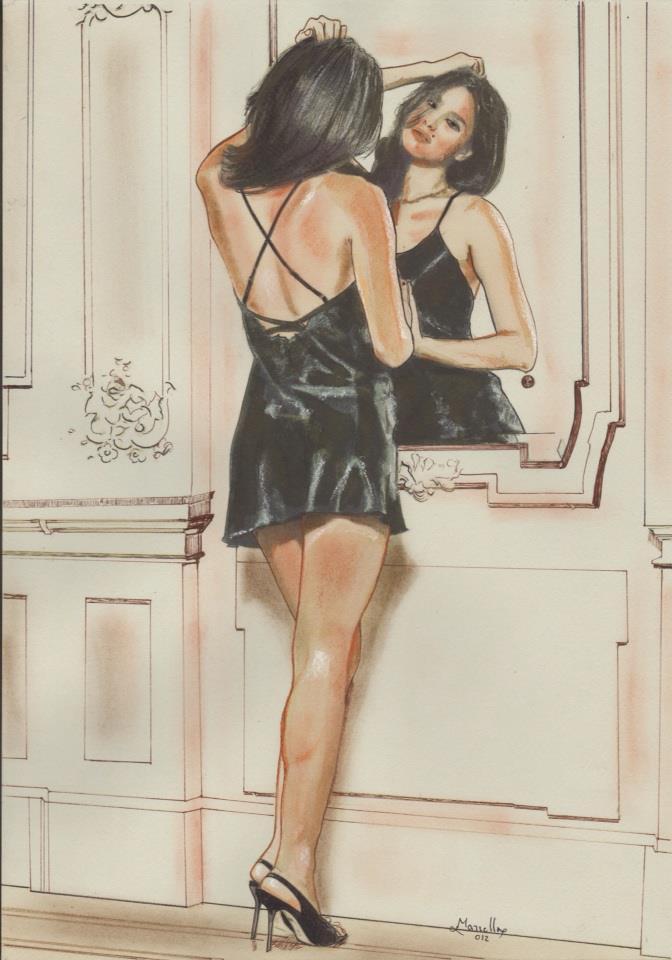 Donna allo specchio pastello francese su cartoncino del pittore montallegrese ignazio marrella - Specchio in francese ...