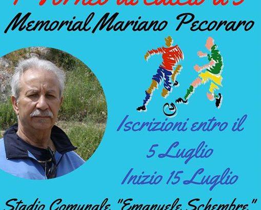 """Si organizza  il 1° Trofeo di Calcio a 5 """"Memorial Mariano Pecoraro"""" ."""