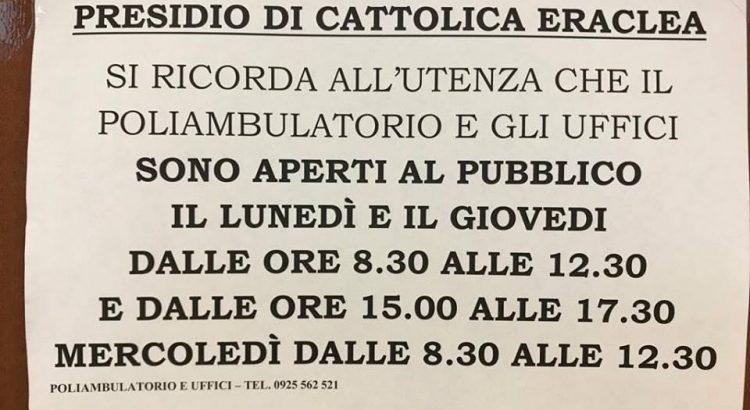 Poliambulatorio di Cattolica Eraclea, orari e giorni di apertura al pubblico